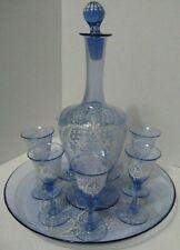 Bohemian Czech Enameled Blue Glass Set 7 Shot Glasses, Decanter/Pitcher & Tray