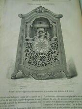 Pendule à musique et à personnages Gravure Antique Print 1882