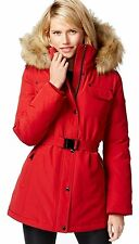 Michael Kors Heavy Down Puffer Parka Coat with Faux Fur Hood
