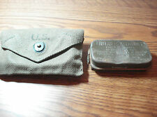 VINTAGE U.S. ARMY/MARINE CORPS FIRST AID POUCH W/ SEALED  METAL PACKET #1-3