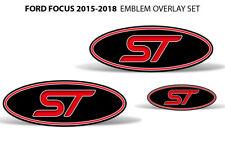 Oval Badge Emblem Logo Overlay Sticker Decals For Ford Focus ST 15-18 RED BLACK
