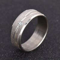 Men Unisex Silver 8MM Band Ring Engagement Micro Paved Rhinestone Size L N O Q