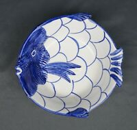 Vintage Zanolli Italy Fish Bowl Hand Painted Blue and White