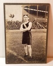 1910s college track and field runner, funny hair, original cabinet photo, old