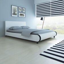 Cama con revestimiento de material cuero artificial medidas 180 cm color blanco