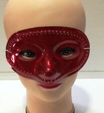 CARNEVALE HALLOWEEN MASCHERA ROSSA RED PLASTIC MASK FACE COSPLAY COTILLONS