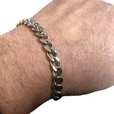 Bracciale catena in acciaio da uomo braccialetto twister inox argento moto biker