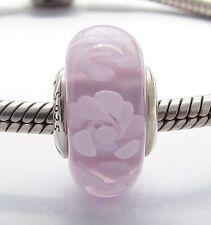 PINK FLOWERS MURANO GLASS CHARM Sterling Silver.925 for European Bracelet 594