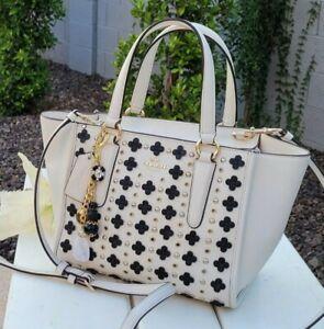 COACH Mini Crosby Custom Carryall Satchel  Floral Rivets Leather F37703  purse