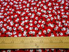 1 yard  Tossed Snowmen on Red Christmas  Fabric