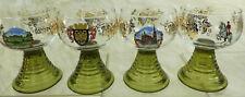 Vtg Roemer German Wien Wine Goblet Set 4 Green Ribbed Glass Stem Clear Top Grape