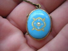 ANTIQUE VICTORIAN GOLD FILLED ROBIN EGG BLUE ENAMEL PHOTO LOCKET CHARM PENDANT