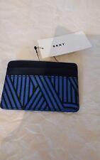 DKNY Card Holder Wallet Blue Black Crosswalk Coated Logo