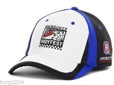 Indycar Milwaukee Indyfest Racing Stretch Fit Event Cap Hat Blk Wht Blue L XL