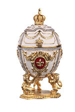 Faberge Egg / Trinket Jewel Box Lions & Russian Emperor's Crown 3' 7.5cm white