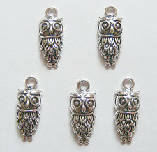 5 Owl Charms, Owl Animal Pendant Charms - 24mm, Dark Antique Silver