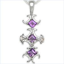 Collier/ Halskette mit Diamant/Amethyst-Anhänger in 925 Silber Rhodiniert