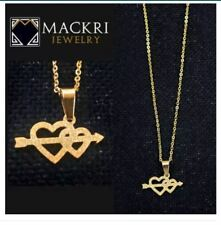 MACKRI Gold Stainless Steel Chain Necklace with Cupid Arrow Hearts Pendant