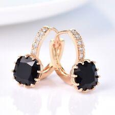 Women Smart Square Black Onyx Crystal Yellow Gold Filled Leverback Hoop Earrings