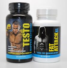 Testo Ripped Extreme Strength  Muscle  Fat Attack Xl Fat Annihilation Exp 07-17