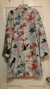 SHANGHAI TANG SILK EMBROIDERED MANDARIN JACKET FLOWERS CRANES LACE XS