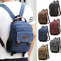 Convertible Canvas Small Mini Backpack Rucksack Chest Pack Sling Bag Travel