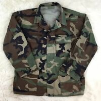 US Military Army Camo Cotton Jacket Shirt Green Long Sleeve Small Authentic S