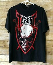 Tapout Men's T-Shirt Size L Graphic Tee Nicely Faded Shirt Skull & Sword Print