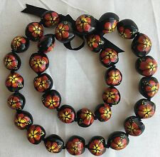 Kukui Nut Lei Hibiscus Red Flower Necklace Hawaiian Wedding Luau Graduation NEW