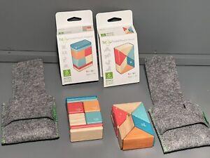 Tegu Pocket Pouch 8 & 6 Piece Magnetic Wooden Blocks Color Tints w/ Felt Pouch.