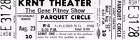 GENE PITNEY 1967 JUST ONE SMILE TOUR KRNT UNUSED CONCERT TICKET-GRAY-NM TO MINT