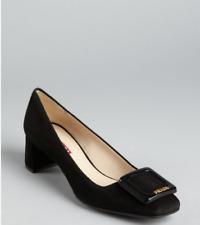 Prada Buckle Toe Black Suede Pump - Gold Logo  - 38 1/2