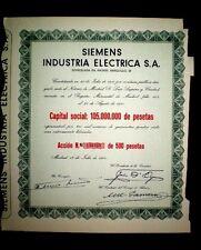 SIEMENS INDUSTRIA ELECTRICA,Share certificate1960,Spain