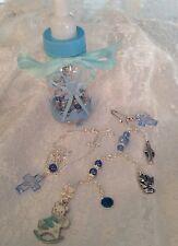 Gift Bottle /Christening/blue/ster Sil Chain*&pram Pin Charm/st Christopher.