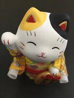 Pottery Maneki Neko Beckoning Lucky Cat 7415 Yellow Kimono 100mm MADE IN JAPAN