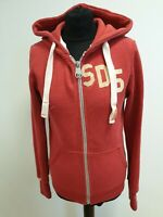 E93 WOMENS SUPERDRY RED WHITE EMBLEM COTTON FITTED TRACKSUIT JACKET HOODIE UK M