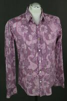 DESIGUAL Mens Pink Floral & Striped Pattern SHIRT - Size Medium M