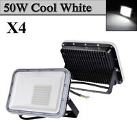 4X 50W LED Flood Light Cool White Arena Outdoor Garden Yard Spotlight IP67 NEW