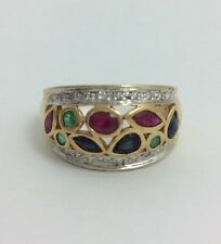 14K YELLOW GOLD MULTY COLOR GEMESTONE AND DIAMONDS RING SIZE 10