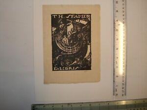 Sir Frank Brangwyn - Original  Artist's proof  woodcut Bookplate - Th.Sfamer