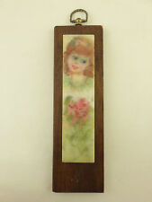 Modesta Richerson Encaustic Marble Block Painting Young Girl 1960s Kansas City