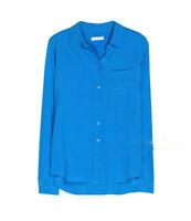 Brett 100% Silk One-Pocket Equipment Shirt Blue