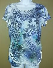 Chicos womens size 1 M shirt top blue white side rouching and embellishment