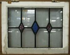 """Old English Leaded Stained Glass Window Lovely 3 Diamond Design 21"""" x 18.75"""""""