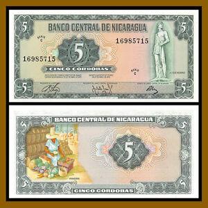 "Nicaragua 5 Cordobas, 1972 P-122 ""C"" Series Unc"