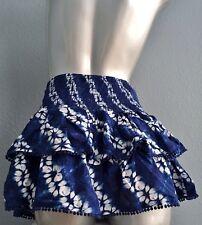 NWT Victorias Secret Swim Beach Cover Up Ruffle Tie Dye Skirt Blue White M