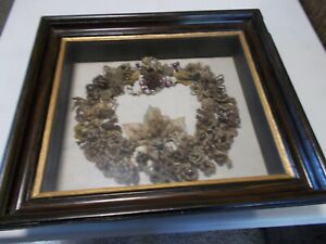 Antique 19th c Victorian Mourning Hair Wreath ~ Floral Hair Art ~ Momento