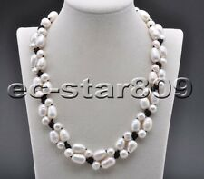 "P6199 Hand Knitting 20"" 13mm White Rice Round Pearl Black Hide-Rope Necklace"