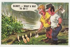 What A Way To Go Wood Cutting Humour Bamforth 444 Comic Postcard 727b