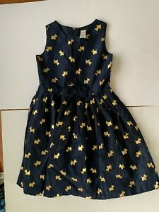 Gymboree - girls Navy dress with gold scotty dog print and bow. size 10